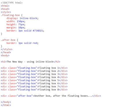 Отличный способ выровнять блоки в строку в CSS — display: inline-block